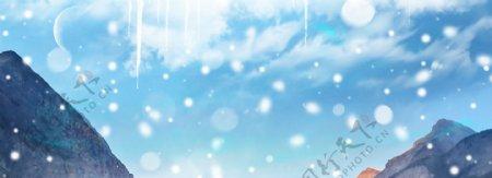 唯美柔色质感简约飘雪山峰梦幻雪景背景