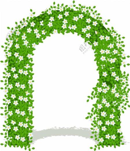 手绘小清新绿叶花朵拱形门