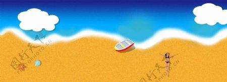 一起去旅行之阳光沙滩比基尼美女海星贝壳
