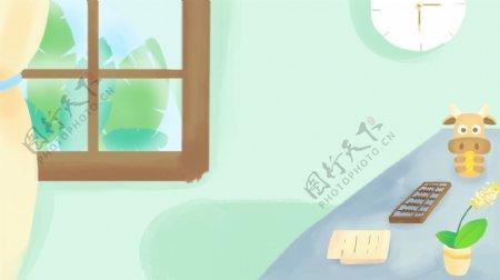 清新手绘家居广告背景