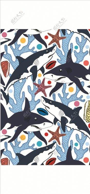 手绘鲨鱼四方连续底纹