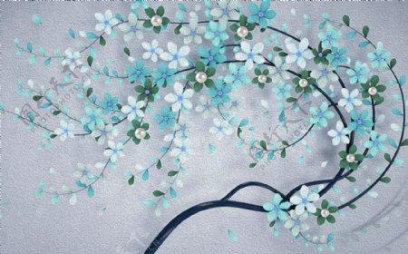 油画花卉珍珠蓝色背景墙
