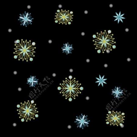 漂浮冬季飘雪唯美清新手绘梦幻清新雪花