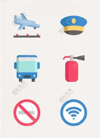 扁平化机场元素icon设计