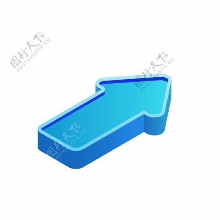 2.5D立体蓝色箭头元素套图右上