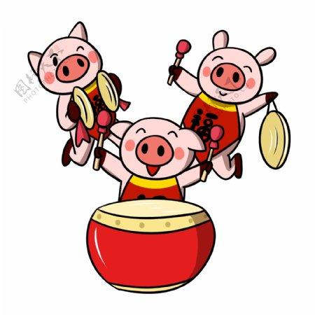 卡通小猪新年敲锣打鼓png透明底
