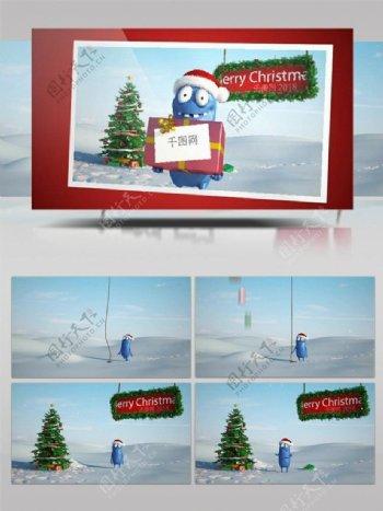 蓝色小人圣诞快乐节日祝福ae模板
