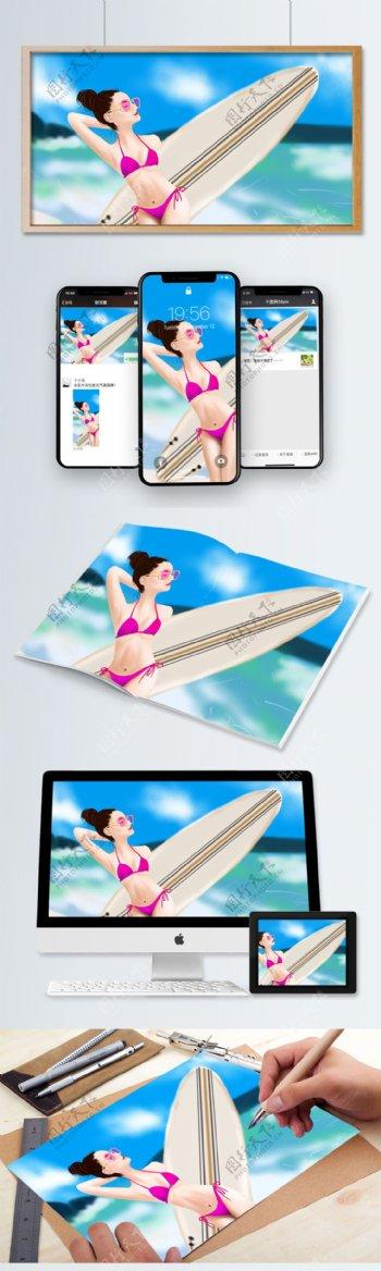 沙滩冲浪比基尼美女