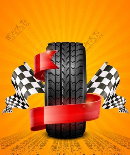 矢量汽车轮胎赛车背景
