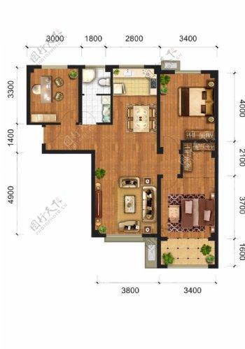 户型渲染房地产分成源文