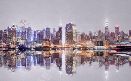 城市抽象水墨玄关屏风电视背景墙
