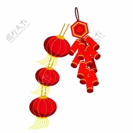 喜庆春节灯笼和鞭炮设计元素