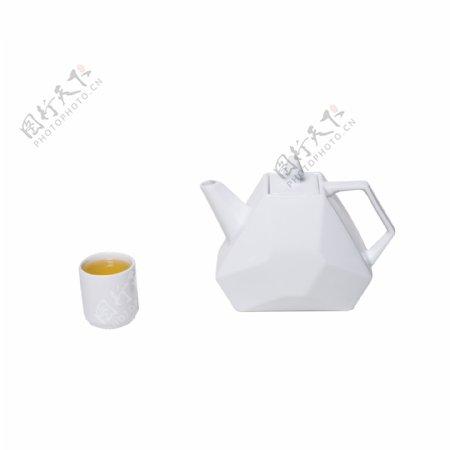 纯白色水壶茶杯实拍免抠