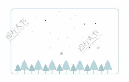 卡通松树蓝色边框