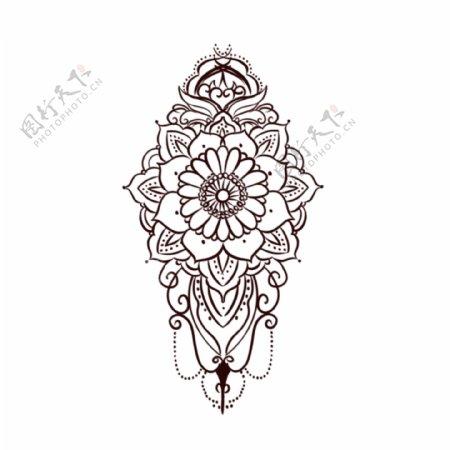 欧美纹身手稿手绘曼陀罗花纹