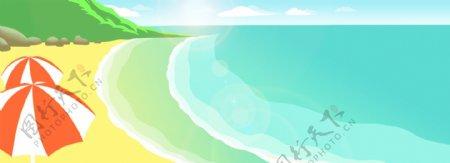 手绘风景海边banner背景图