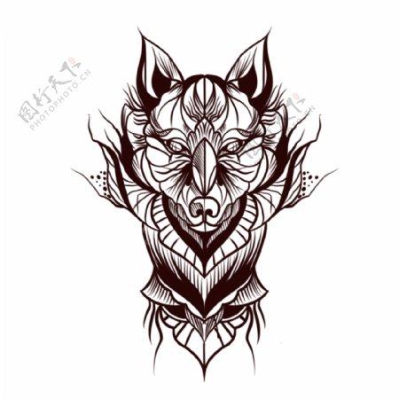 欧美纹身手稿手绘动物图腾纹身