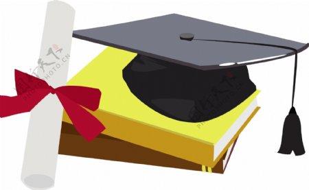 带有毕业证书的学士帽