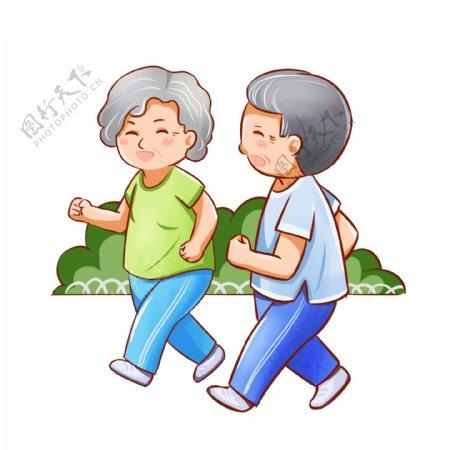 通用节日彩色卡通手绘老年人晨跑