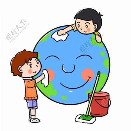 卡通世界地球日清洁地球png透明底