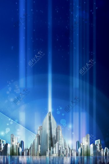 蓝色夜空城市背景原创