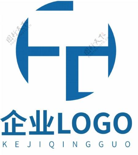 企业蓝色科技简约LOGO