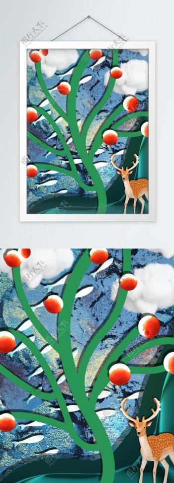 简约手绘抽象飞鱼客厅装饰画