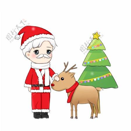 手绘卡通圣诞节圣诞老人麋鹿和圣诞树psd免抠