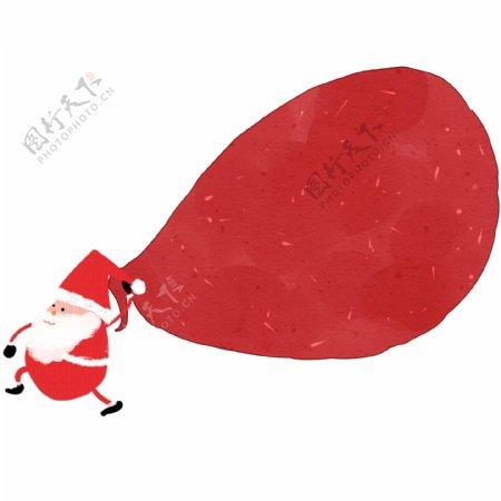 卡通圣诞老人背礼物袋插画