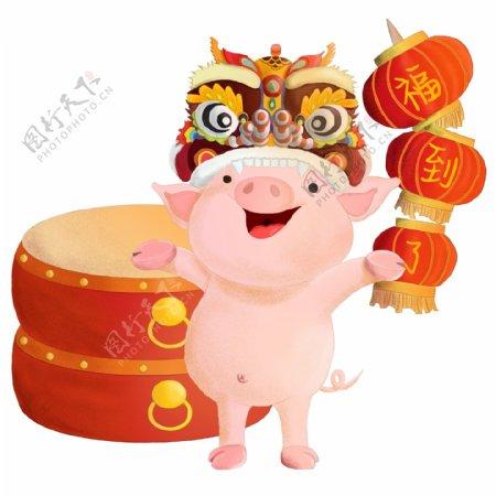 猪年吉祥舞狮福猪卡通手绘免费素材