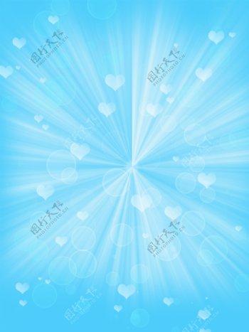 原创浅蓝色梦幻心型蓝色背景素材