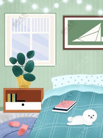 手绘家居卧室背景设计