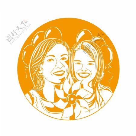 世界微笑日人物笑脸版画式原创设计元素