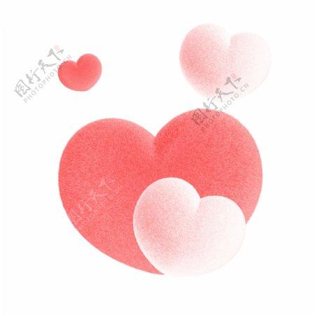 粉色毛茸茸爱心设计元素