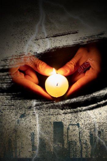 自然灾害蜡烛祈祷背景海报