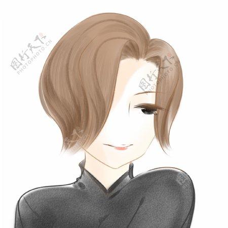 精致棕色短发