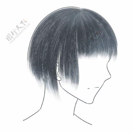 黑色短发图片