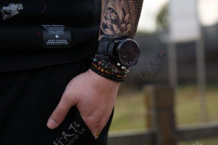 模特和男士时尚黑色腕表2