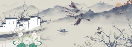 中国风荷花banner背景图