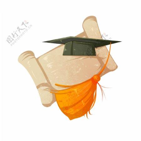 黑色学士帽装饰