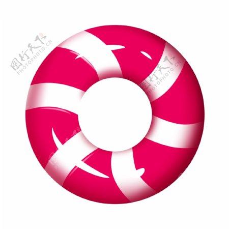 红色条纹游泳圈