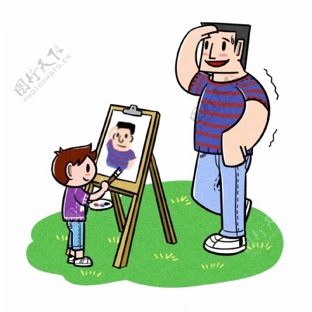 卡通父亲节夸张风父子作画png透明底