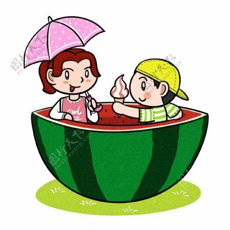卡通儿童夏季与大西瓜png透明底