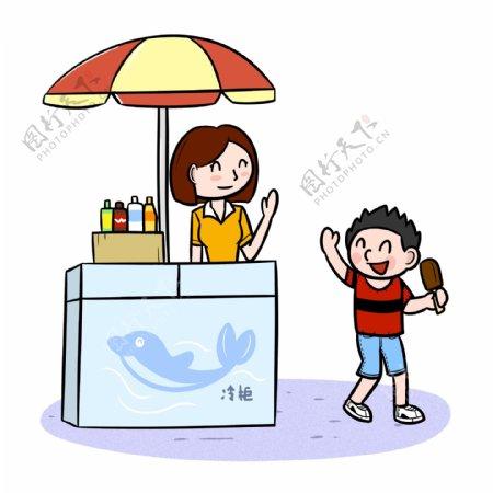 卡通夏季儿童买冰棍png透明底