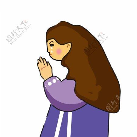 简约手绘祈祷的女孩子