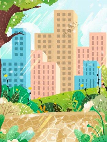 清新夏季城市背景设计