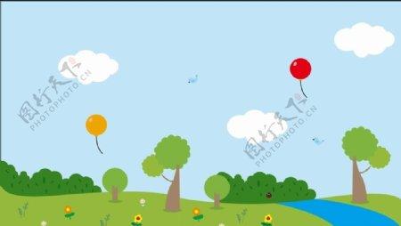 儿童卡通树木卡通气球卡通