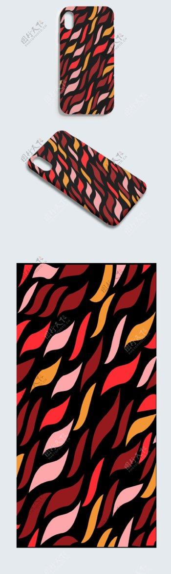 黑色AI格式红色落叶手机壳