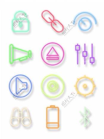 霓虹灯风格手机应用图标元素gif