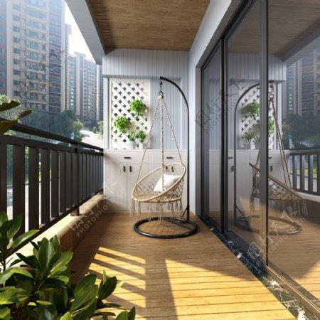 四叶草木阳台